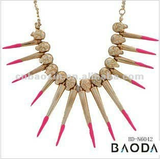 2013 Fashion new design gold color bib chain spike skull necklace jewelry