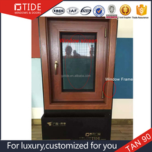 90 series aluminum wood frame tempered glass window Cheap Price Aluminum Window And Doo