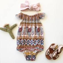 Newborn Baby Girls Floral Romper Bohemia Summer jumpsuit one-pieces camis 2018 print Infant Clothes