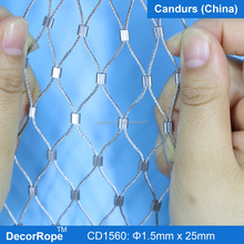 Ferruled Type Flexible Stainless Steel Wire Rope Bird Aviary Mesh Fencing Panels For Zoo Netting