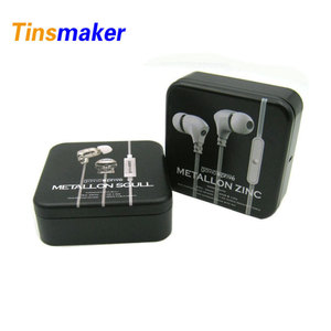 Decoration design black square metal earphone tin box