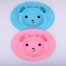 Mini Size Silicone Baby Placemat Kids Feeding Mat Bear Silicone Mat Plate With Strong Suction Cup