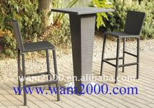 outdoor rattan high back bar chair for garden