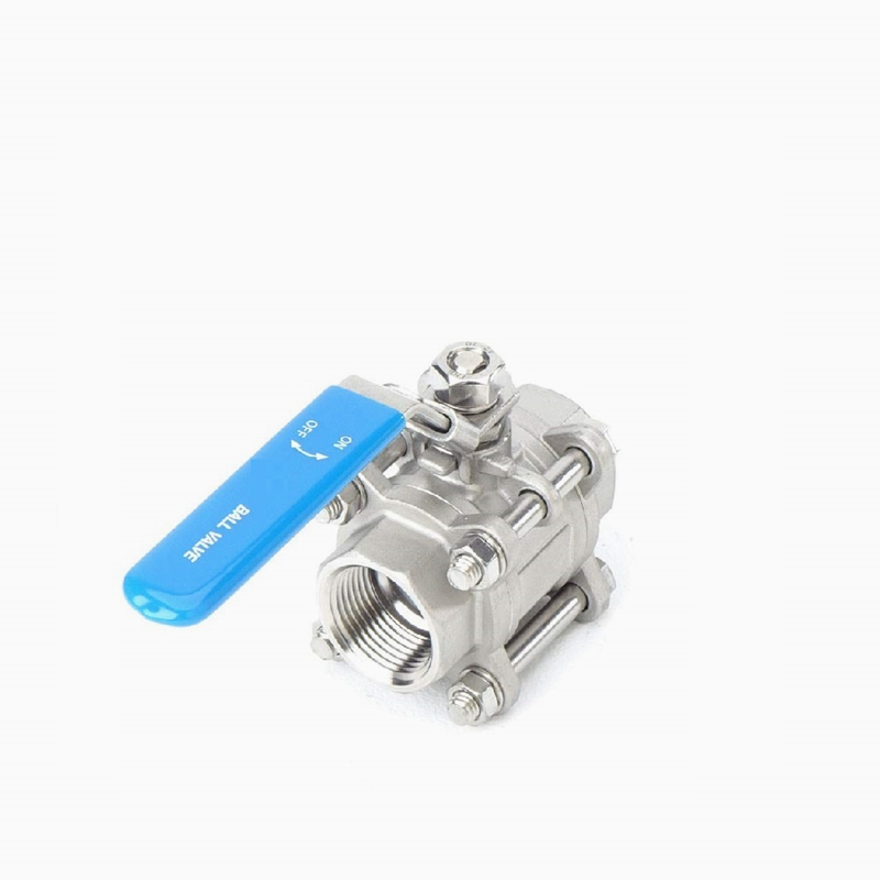 Stainless Steel 316 1-1/4&quot; NPT 3 Piece Type Threaded Full Port Ball Valve with Blue Vinyl Handle WOG <strong>1000</strong>