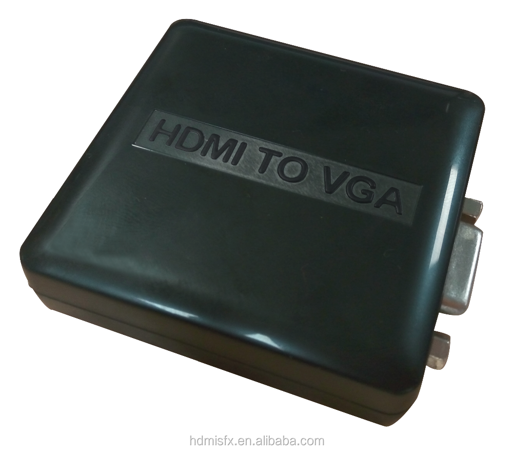 plastic box mini hdmi to vga use USB cable hdmi convert vga <strong>1080P</strong> Full HD converter