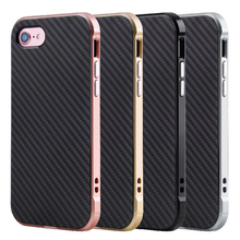 Aluminum Matal Coated PC Frame+TPU Carbon Fiber Rubber Phone Covers Case for iPhone 7