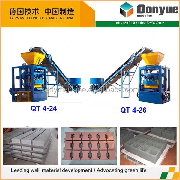 semi automatic hollow block machine for kingdom of lesotho qt4-24 dongyue machinery group