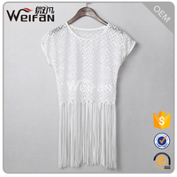 2015 woman clothes fashion sleeveless sexy white lace blouse