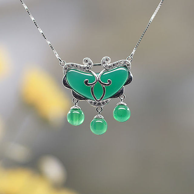 [XXL-129B] Chinese style necklace in 925 silver inlaid with green agate