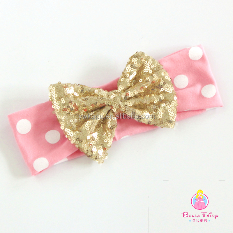 Sequin bow polka dot headwrap, cotton pink headband with big sequin hair bow