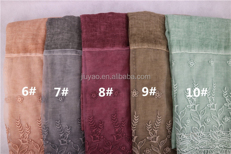 Fashion top sell womens long lace trim scarf shawl muslim women cotton lace hijab scarf yiwu hijab scarf