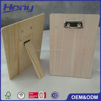 Custom A3,A4,A5 Size Cheap Pine Wooden Clipboard with Private Silver Clips and Free Standing on the Back