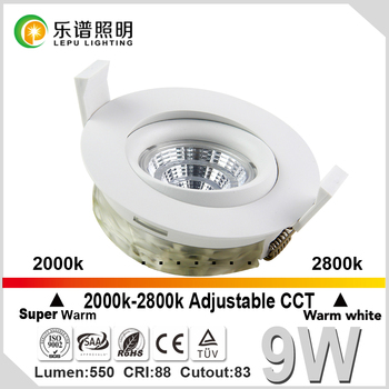 CCT 2000K-2800K,Ra99,cutout83mm recessed led downlight ip44