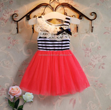 Summer Little Girl's Mesh Skirt Lace Stripe Tutu Mini Dress