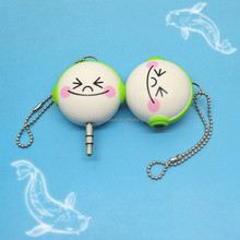 Wholesale OEM 2 Ways Keychain Smiling Doll Music Sharing Audio Earphone Splitter