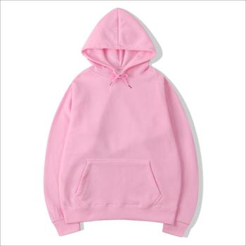 Wholesale Men Solid Soft Blank Thick Pink Pullover Long Sleeve Hoodies