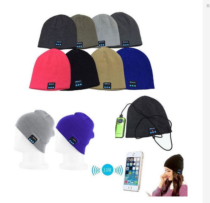 Wireless bluetooth headphone beanie hat with headphone