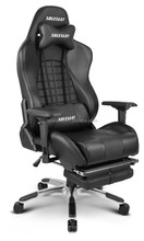 Racing style office chair with foot rest
