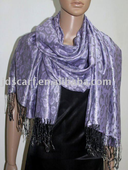 JDP-301_26#: polyester shawl with metallic leopard pattern