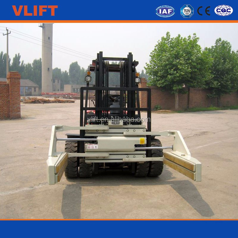 Rotating slide chute hydraulic forklift brick clamp