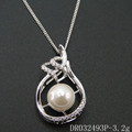 Fashion Single Pearl Pendant 925 Silver Designs Big Pearl Pendant Necklace DR032493P