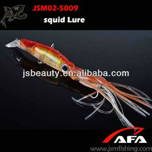High Quality Squid Fishing Lure with various colors skirt and hooks