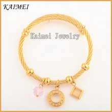 Foreign Trade Fashion Ladies High-End Jewelry Wholesale Gold Plated Steel Wire Circular Ring Bracelet
