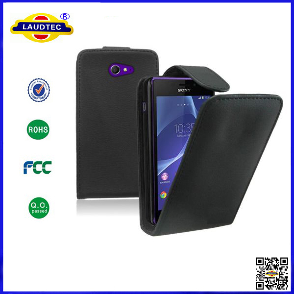 For Sony Xperia M2 PU Leather Top Flip Case Black Back Cover Mobile Phone Accessories Made in China Laudtec