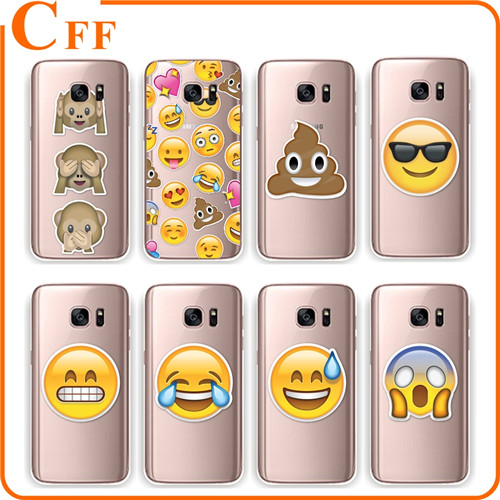Fantastic New Emoji Case Soft TPU Silicone Case Cover For coque Samsung S6 S7 S7edge Rubber Phone Case Facial Smile Fundas