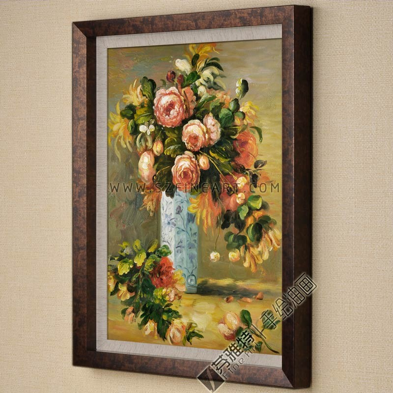 Roses and Jasmine in a Delft Vase, 100% Handmade Impression Flower Painting Canvas Reproduction of Pierre Auguste Renoir