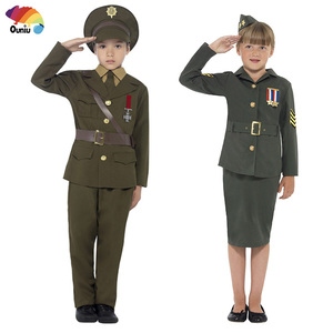 Hot Style Children Partner Work Soldier Camouflage Army Police Men Women Carnival Halloween Costumes For Kids