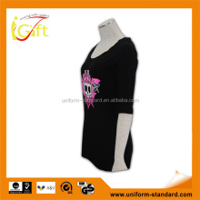 ISO9001 BSCI Manufacturer popular black top fashion girl t shirt