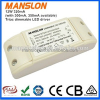 CE SAA approved constant current 300mA 320mA triac dimmable led driver 12W led switching power supply