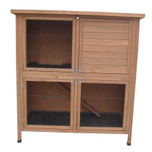 "Pet 36"" 2 Tier Rabbit Hutch Bunny Guinea Pig Cage Pen Built In Run"