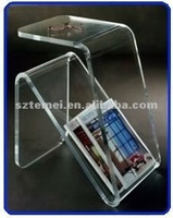 modern clear acrylic end table with magazine rack