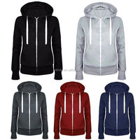New Fashion Women Casual Zip Up Pullover Long Sleeve Hoodies Wholesale Sweatshirt with Hood