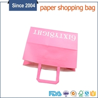 China supplier custom color logo printed flat bottom pink paper bag