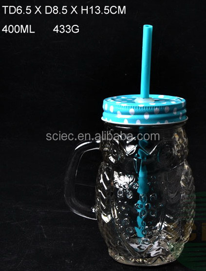 400ml embossed drink glass cup/ 14oz drink glass with blue metal lid / handle glass for drink
