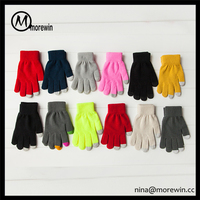 Morewin brand custom colorful unisex smart fingers touch screen gloves wholesale cheap winter knit gloves for touch screen