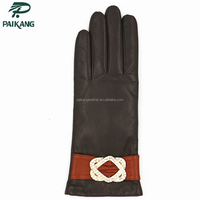 Top quality fashion women winter leather gloves with wool lining