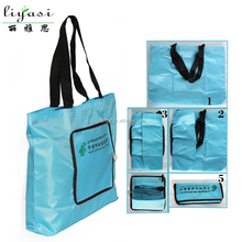 Ripstop 210D Polyester Foldable Shopping Bag Folded into Small Pouch with Zipper Close