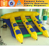 CE certificate inflatable flying fish, inflatable banana boat, flying tube for water games