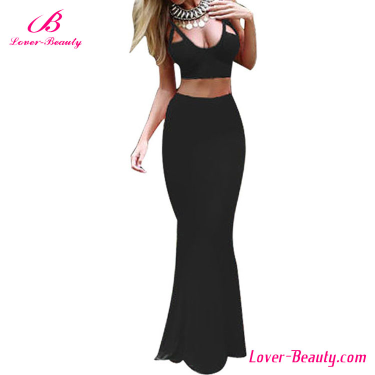 Black bodycon two piece new long party evening dresses