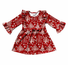 Christmas tree print new style dress frock design for baby girl princess beautiful girl party dress
