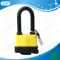 1-9/16in (40mm) Wide Long Shackle weatherproof Laminated Padlock, Non-Removable Key, Keyed Alike