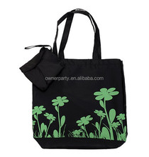 Flower Printing Foldable Eco Reusable Polyester Bag Black Tote Bag