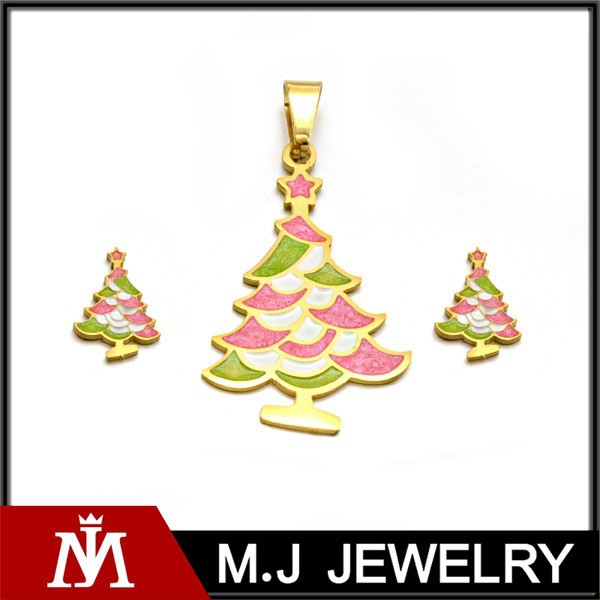 Beautiful Christmas Pine Jewelry Sets in Stainless Steel