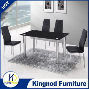 High quality Cheap tempered glass dining table India Import Furniture