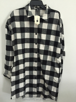 Woman Flannel Check Long Boyfriend Style Shirt