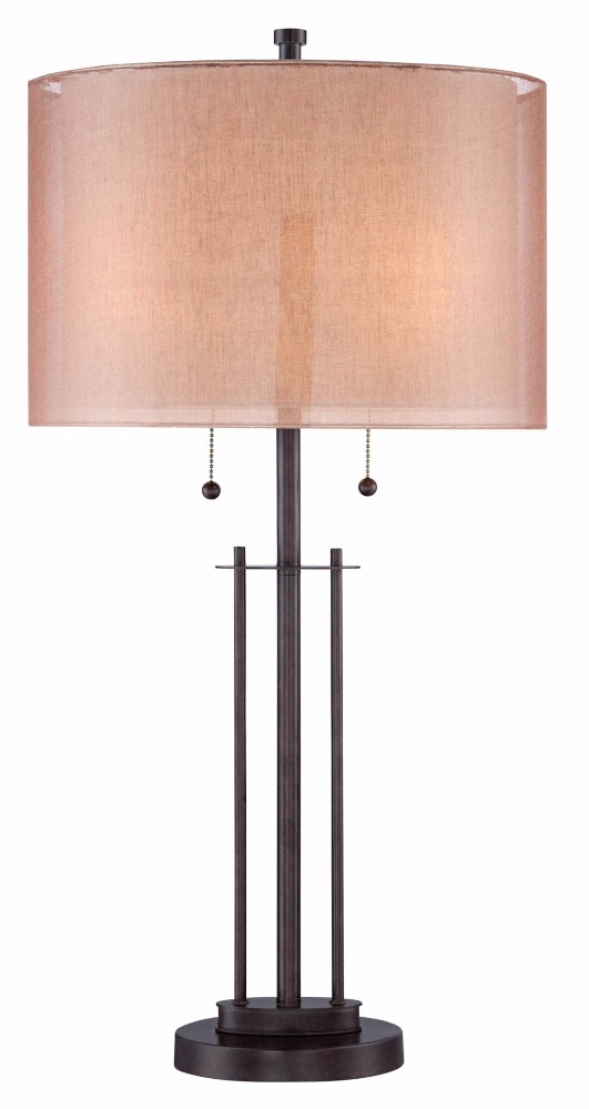 1016-16 rich deep bronze finish round base is paired Double Shade Bronze Table Lamp
